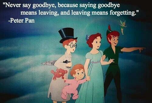 Peter Pan Never Say Goodbye, Because Saying Goodbye Means Leaving And  Leaving Means Forgetting.