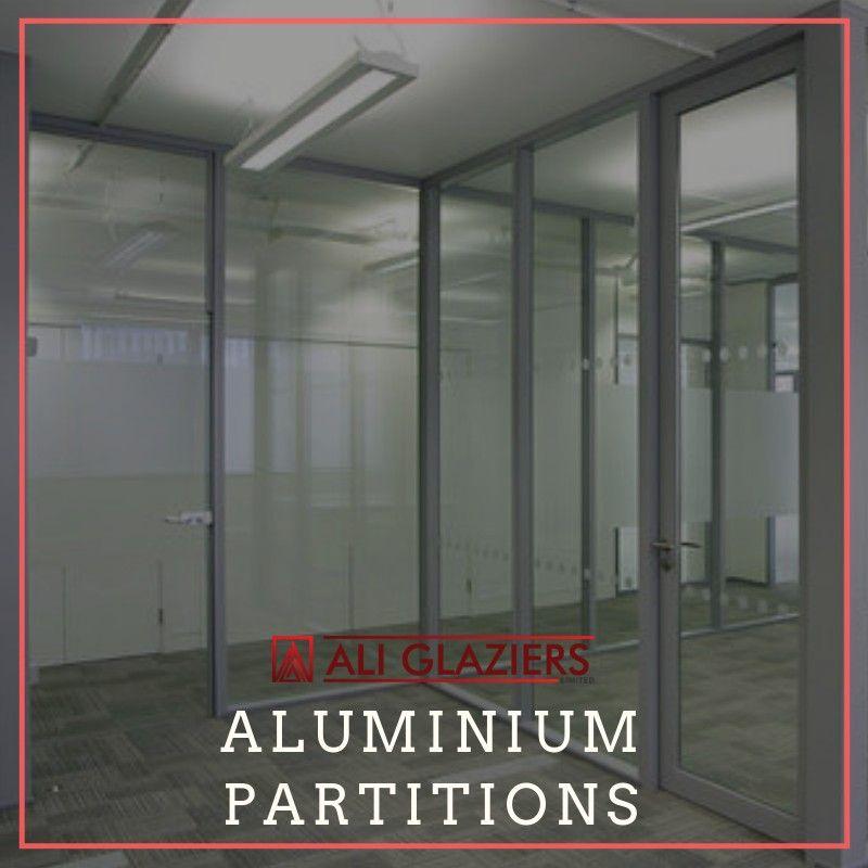 Aluminium Partitioning With Grey Powder Coated Aluminium Frames