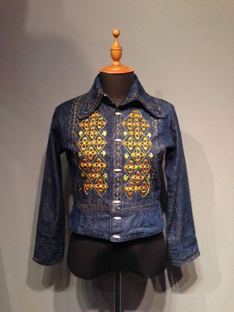 1970s Embroidered Denim Jacket by CestLaVieBoutique6 on Etsy