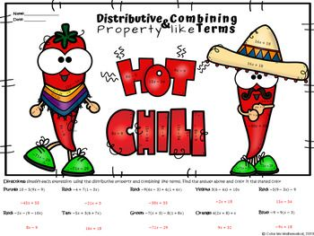 Hot Chili Peppers - Combining Like Terms & Distributive ...