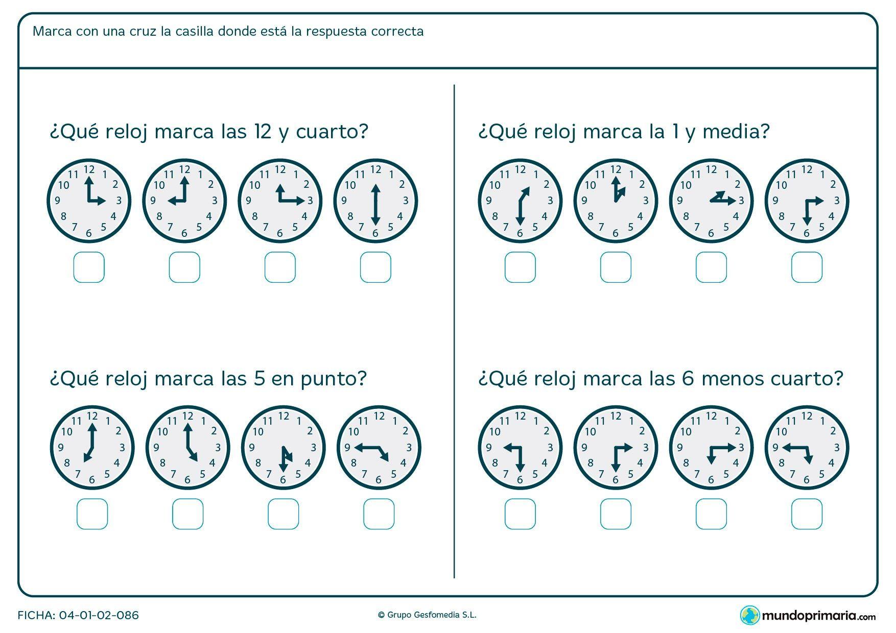 Ficha De Horas Y Cuarto Para Primaria
