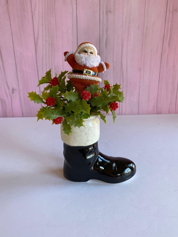 Vtg Santa Boot Planter With Santa Arrangement Mid Century Etsy Santa Boots White Reindeer Red Felt