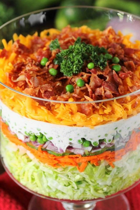 Make-Ahead Layered Salad {For a Crowd} | The Kitchen is My ...