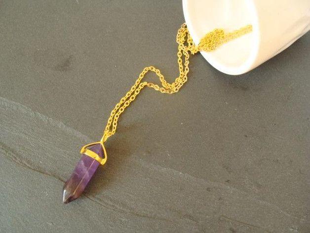 Ketten kurz - Amethyst - Kette Zylinder / Pendel - ein Designerstück von buntezeiten bei DaWanda