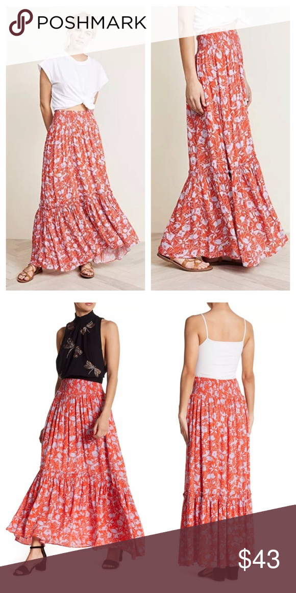 f56e1a33a4 Free People Way of the Wind Printed Maxi Skirt Free People Way of the Wind  Printed Maxi Skirt New with tags Size XS Retails $128 Smocked elasticized  waist ...