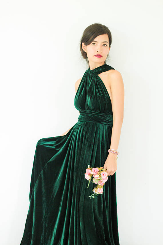 e11b256a8c0 Plus Size Emerald Green Velvet Dress Bridesmaid Dress Maxi infinity Dress  Prom Dress Convertible Dr