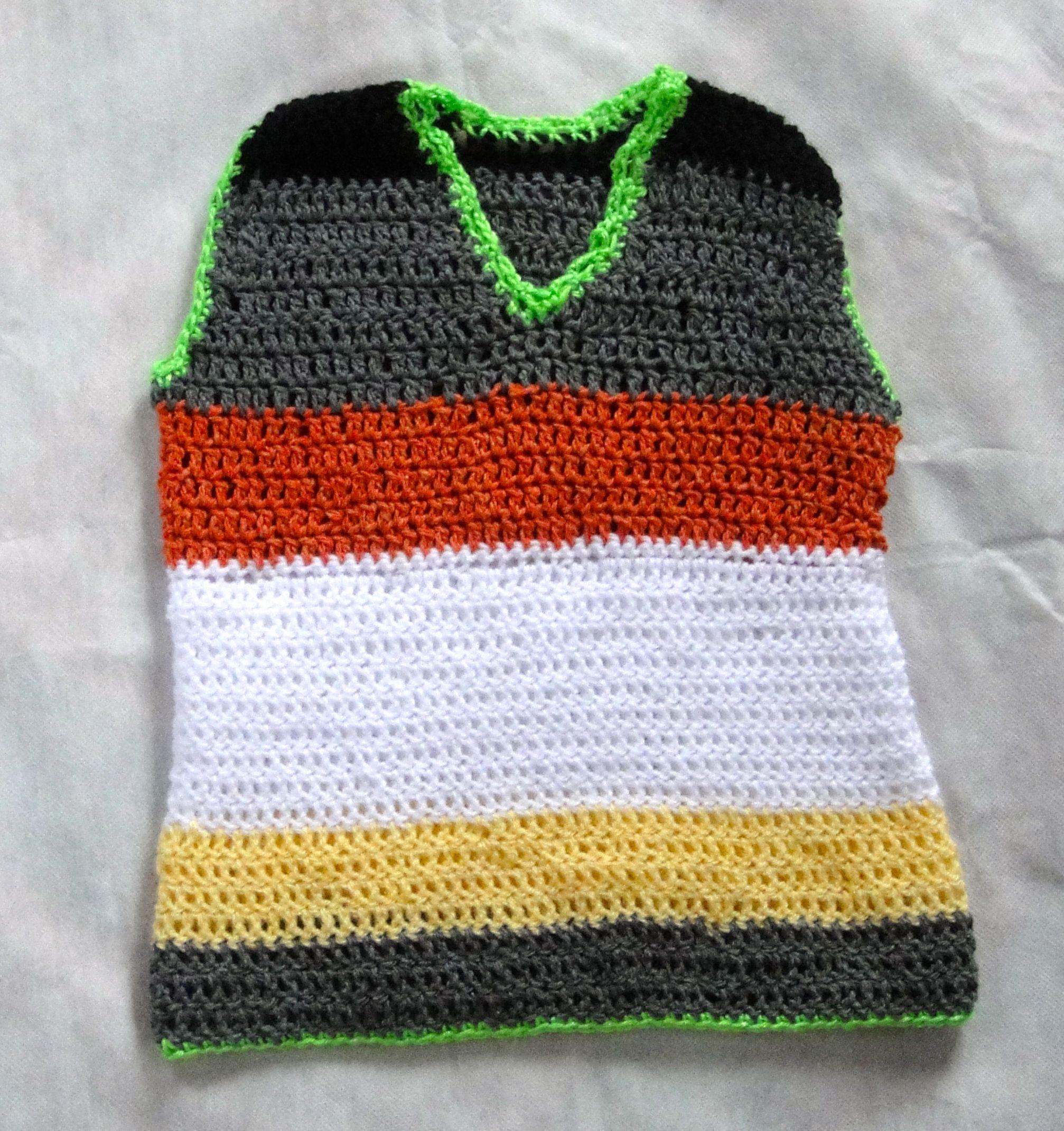 Chaleco tejido con restos de lana en crochet punto vareta - Puntos de lana ...