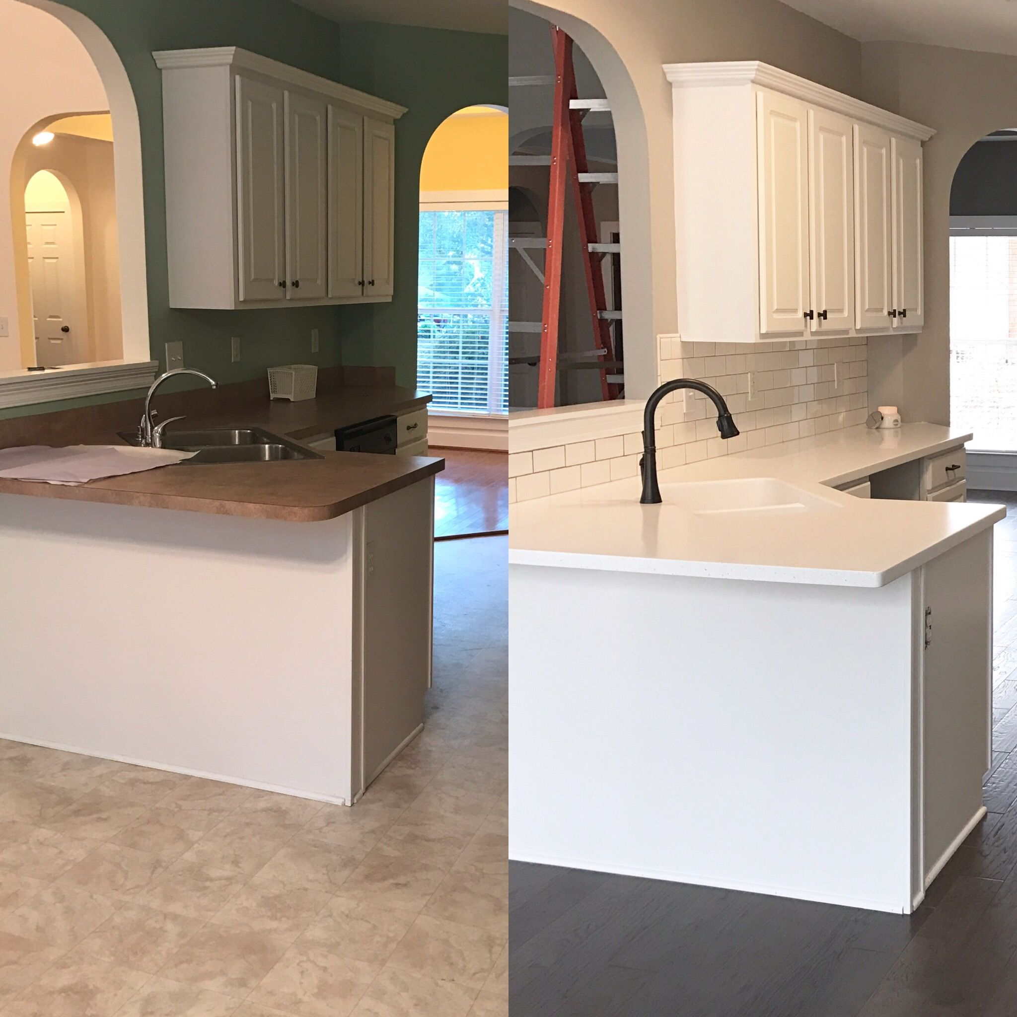 Lg Himacs Solid Surface Counter Top In Ice Queen White Subway Tile With Mapei Silver Grout