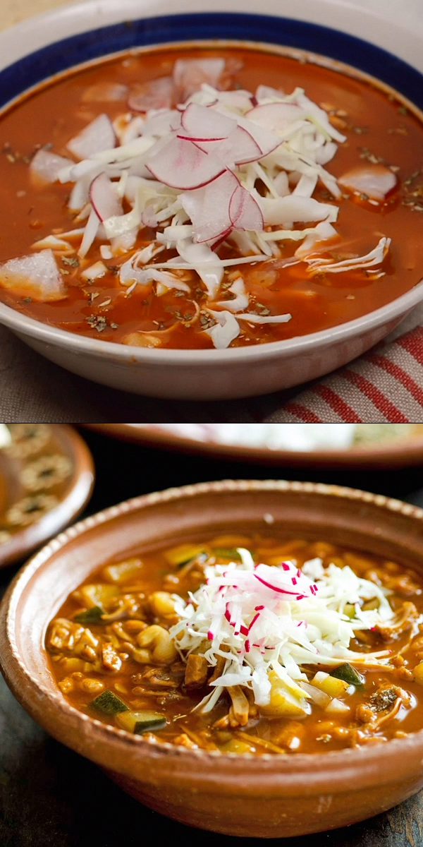 Authentic Mexican Pozole Rojo gone vegan. Made with jackfruit, dried chiles, and spices. It's easy to make, delicious, and can also be made with mushrooms. Naturally gluten free and full of hominy.