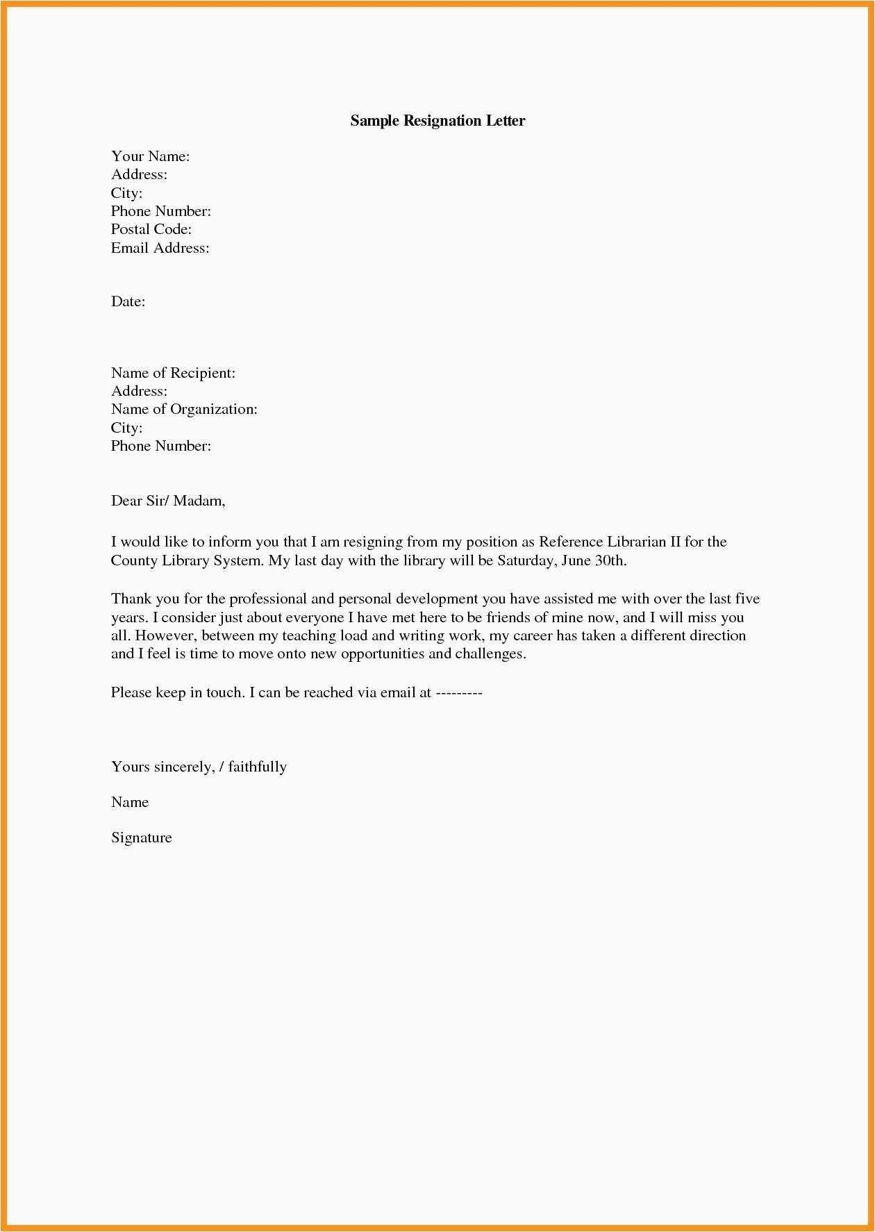 Leave You Job With Outstanding Resignation Letter Template In 2020