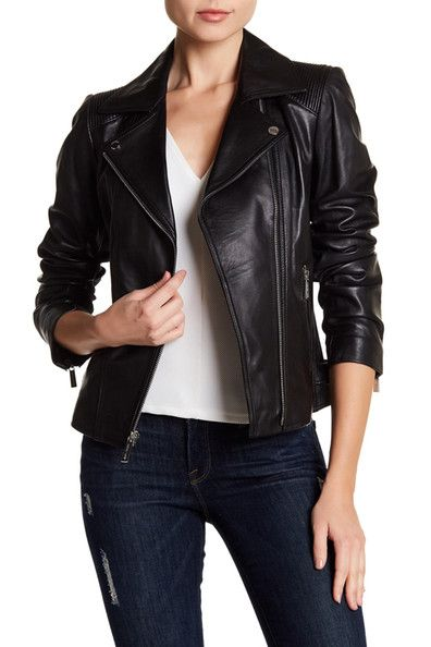 4a8ce91786ad Image of MICHAEL Michael Kors Asymmetric Zip Moto Leather Jacket ...
