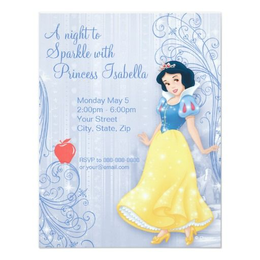 Snow White Birthday Invitation Custom Invites Disney Pinterest