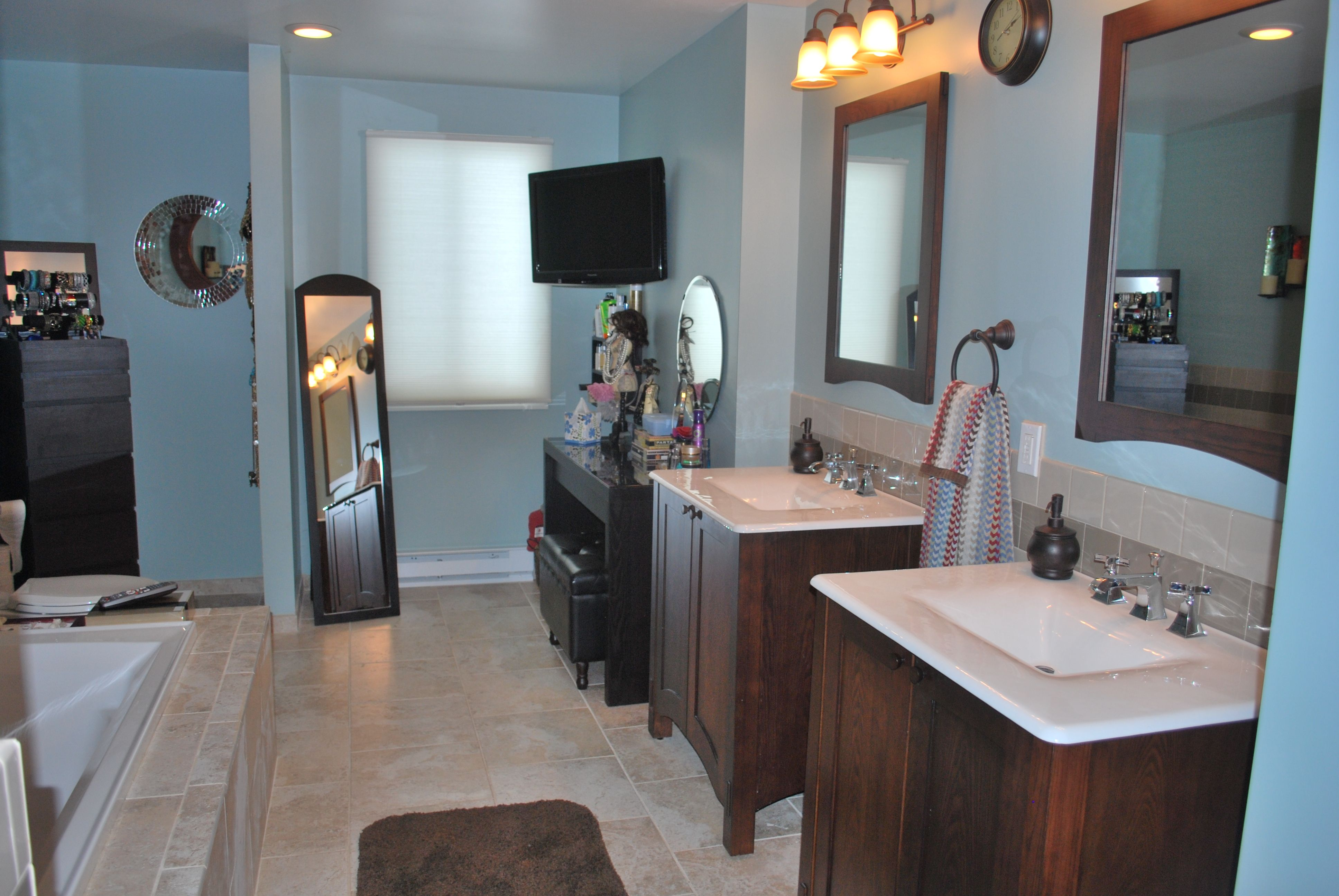 New Master Bath as seen on Money Hunters.  I can't believe how much space we have now!