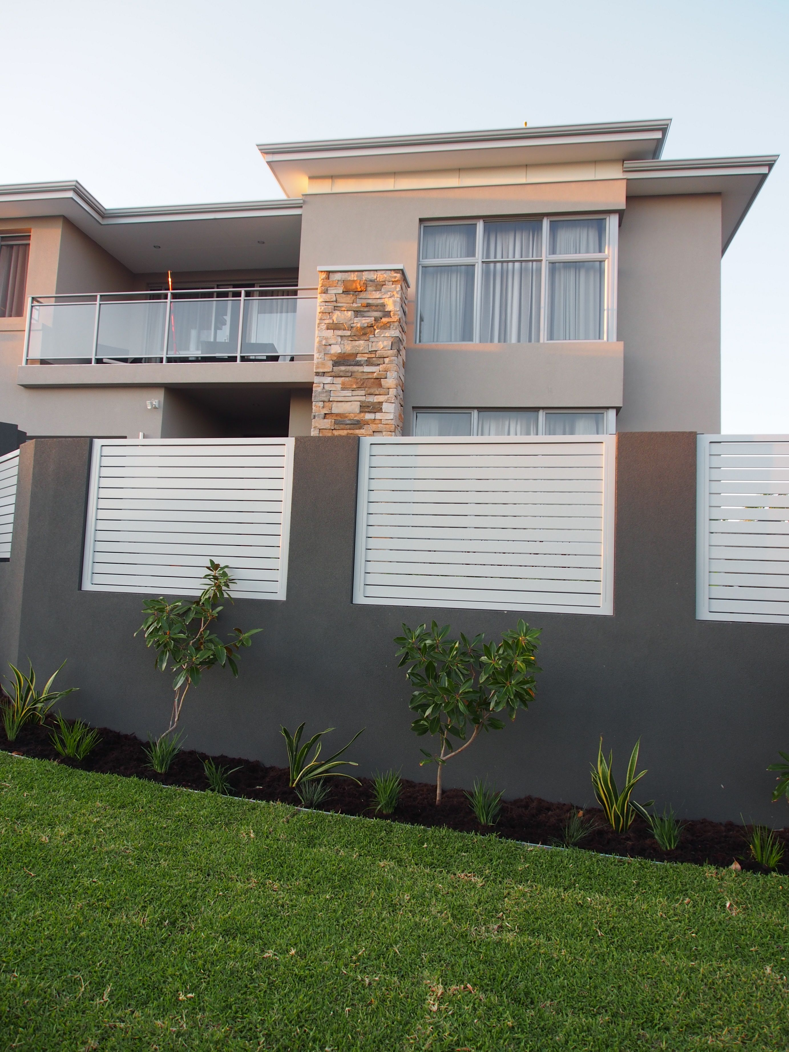 Front Pillar And Infill Wall With Horizontal Slats  Designed