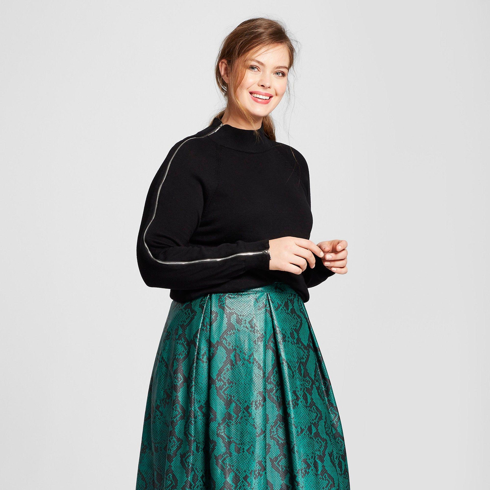 Womenus plus size long sleeve zip sleeve turtleneck sweater who