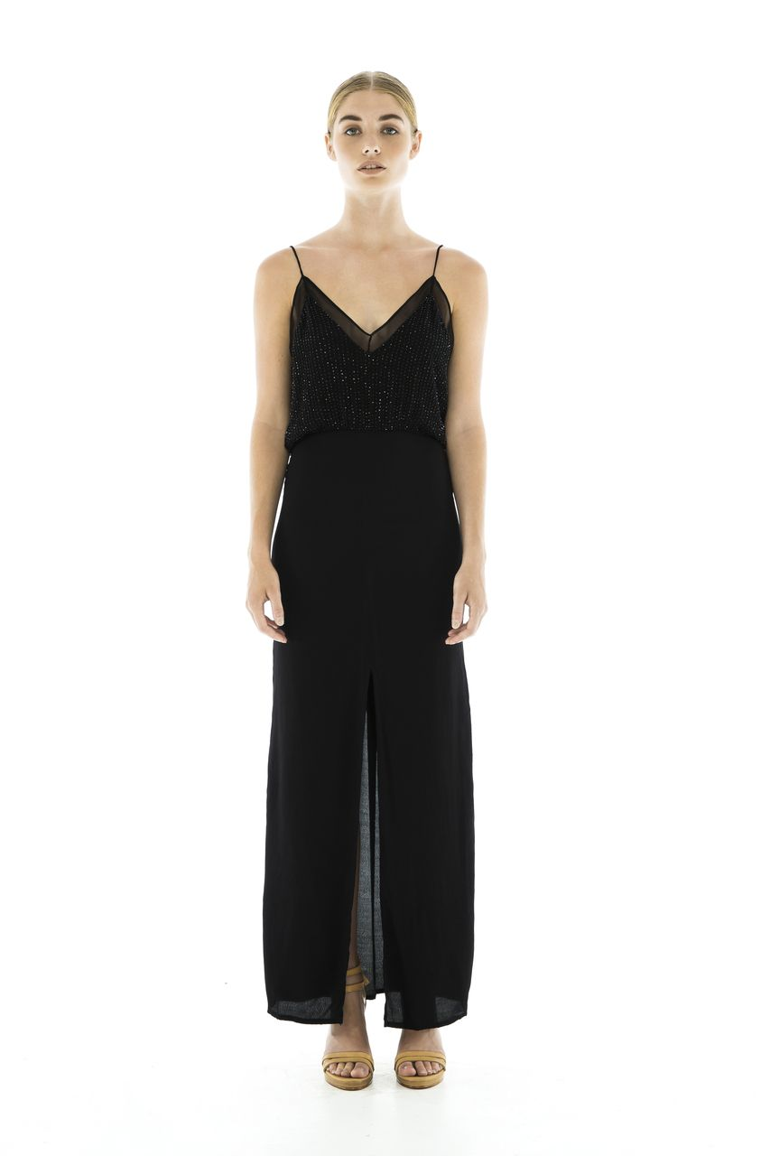 a0818f13bce15 Vegas Beaded Maxi Dress -Black - Magali Pascal