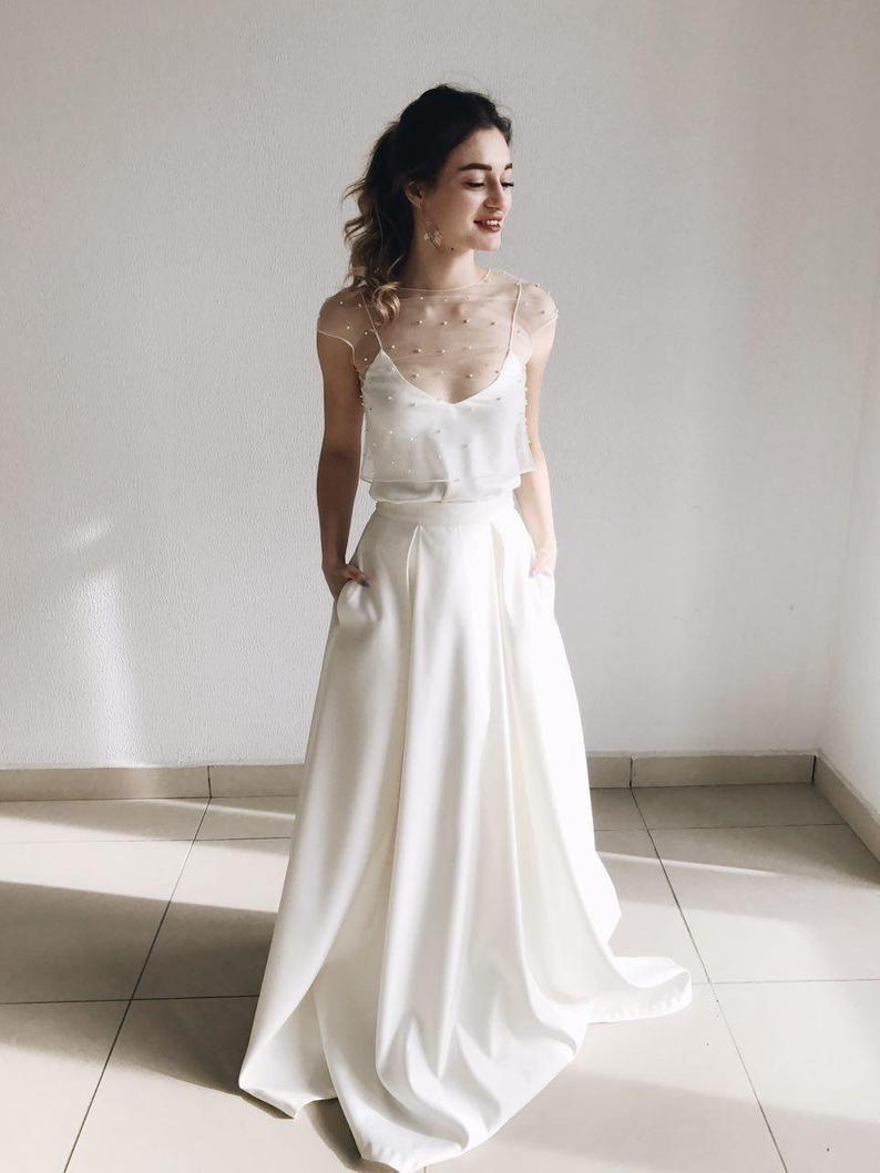 Boho maxi wedding separates dress, two piece romantic