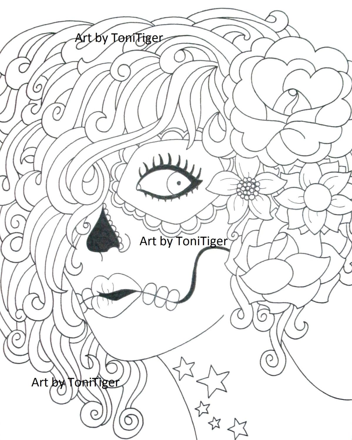instant digital download coloring page sugar skull girl original day of the dead art - Downloadable Adult Coloring Pages