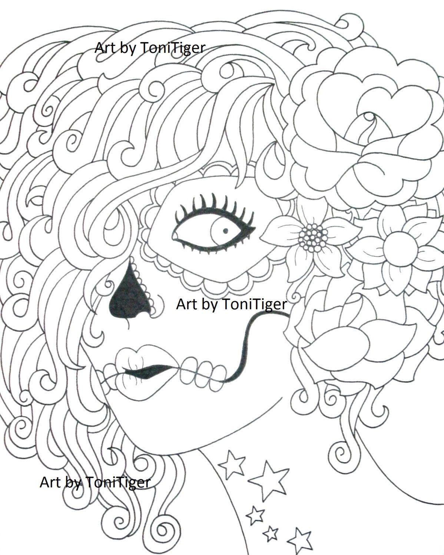 Instant Digital Download Coloring Page Sugar Skull Girl Original