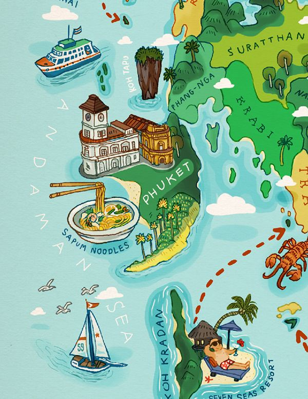 Phuket detail from a map of Southern Thailand by Chinapat ...