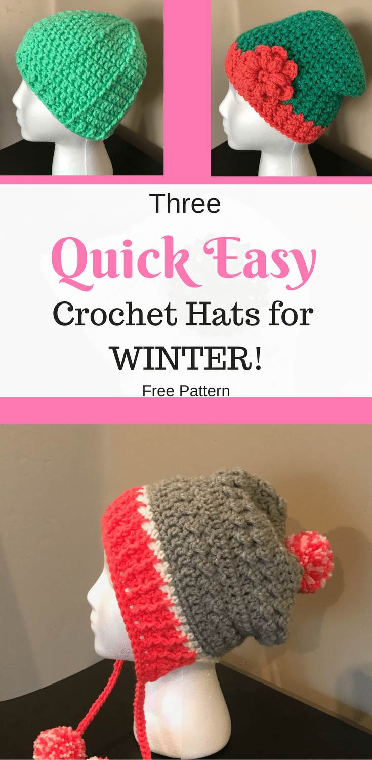 Three Quick Easy Crochet Hats for Winter | Rosas de ganchillo ...