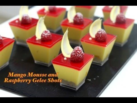 Mango Mousse topped w/ Raspberry Gelee!  Simple and delicious!  (⌒ー⌒)/