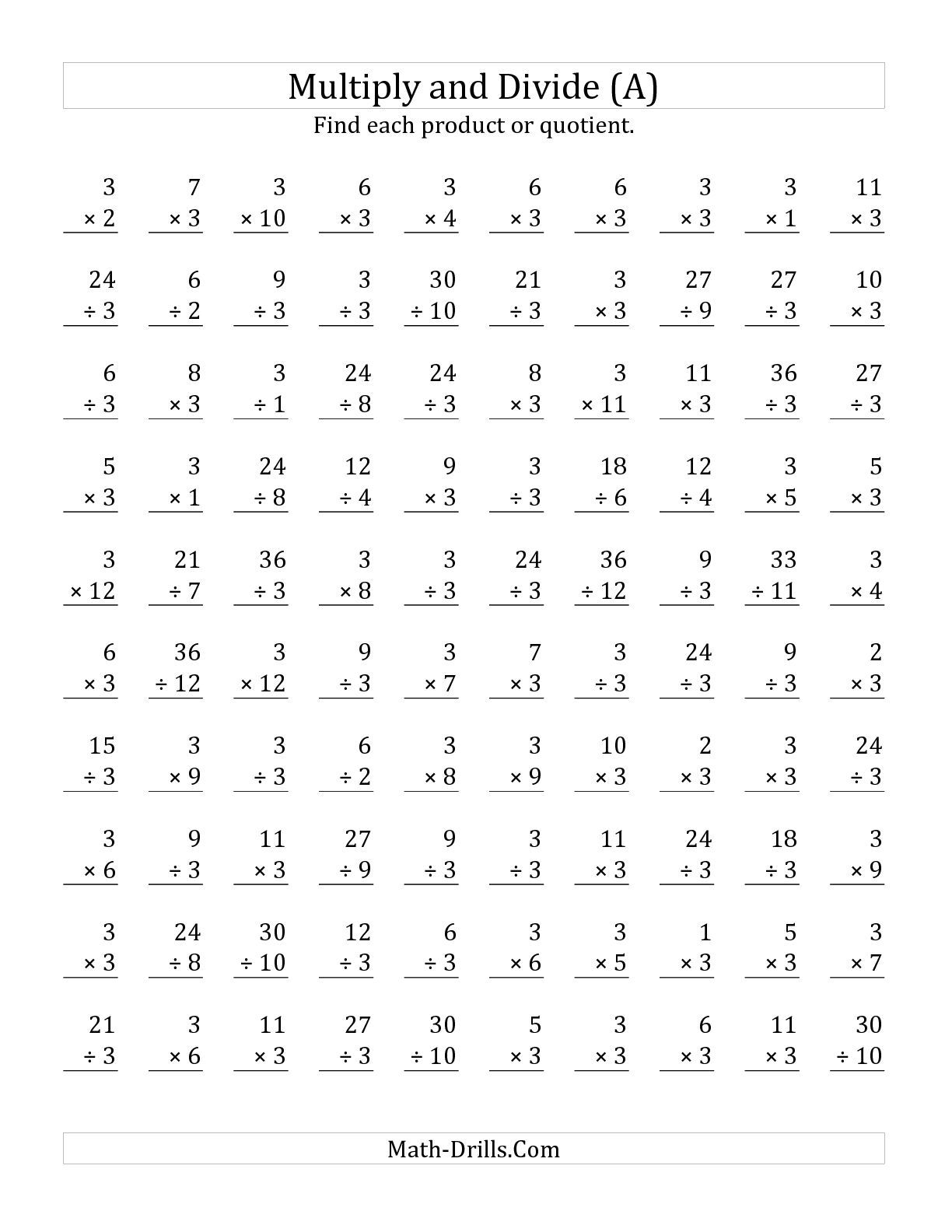 The Multiplying And Dividing By 3 A Math Worksheet From The Mixed Operations Worksheet Pa Multiplication Facts Worksheets Math Fact Worksheets Multiplication