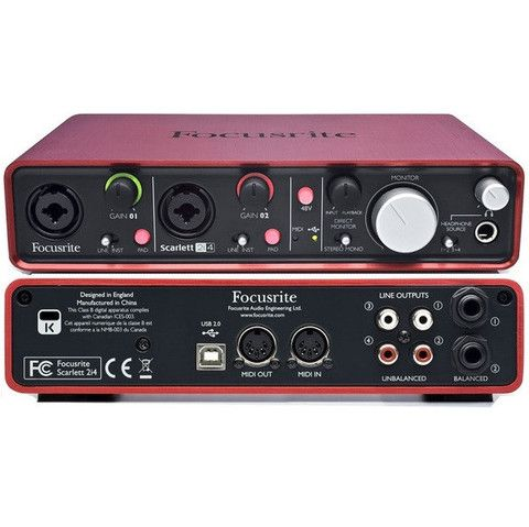 Focusrite Scarlett 2i4 2 In 4 Out Usb Audio Interface With Midi