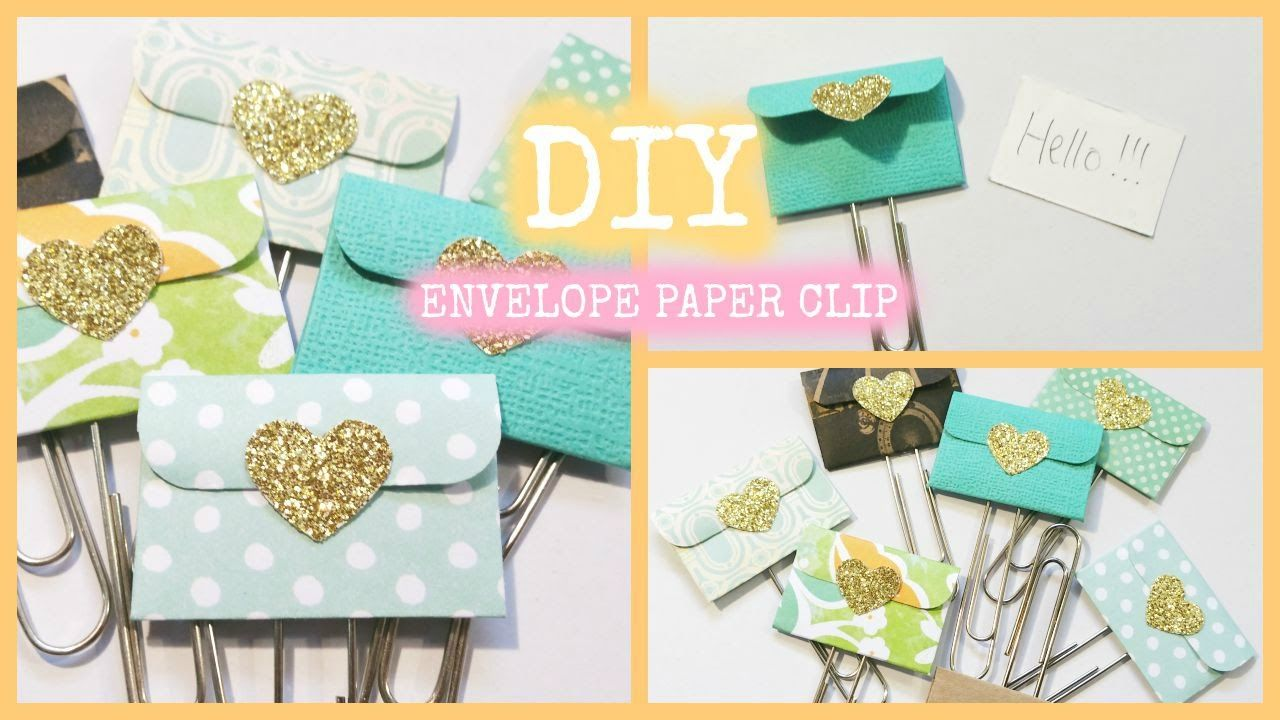 How to make Mini Envelope Paper Clips. What you need: Paper (the envelope) 2 x 2 1/2 Paper ( note) 1 3/8 x 7/8 Paper Clip Circle Die cut for the back Any die...