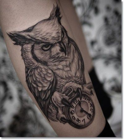 Black And Grey Owl With Clock Tattoo On Leg Cool Sleeve Tattoos