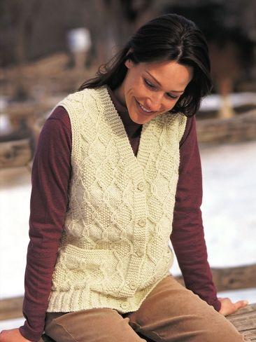 Diamond Texture Vest Yarn Free Knitting Patterns Crochet