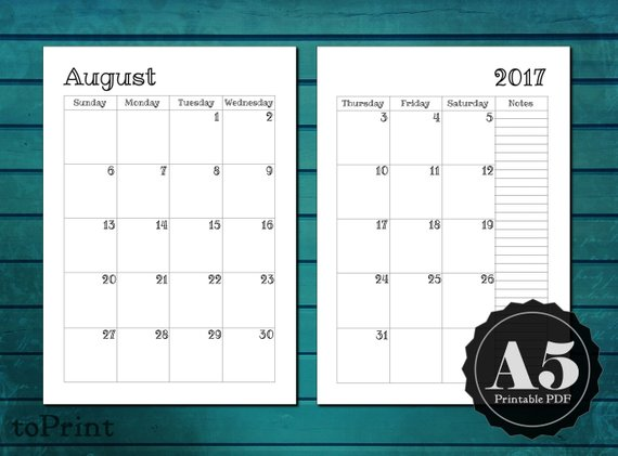 Monthly Calendar Planner Inserts - A5 Printable Planner ...