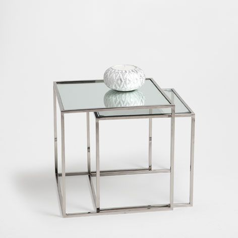 Glass Nest Of Tables Set Of 2 Occasional Furniture