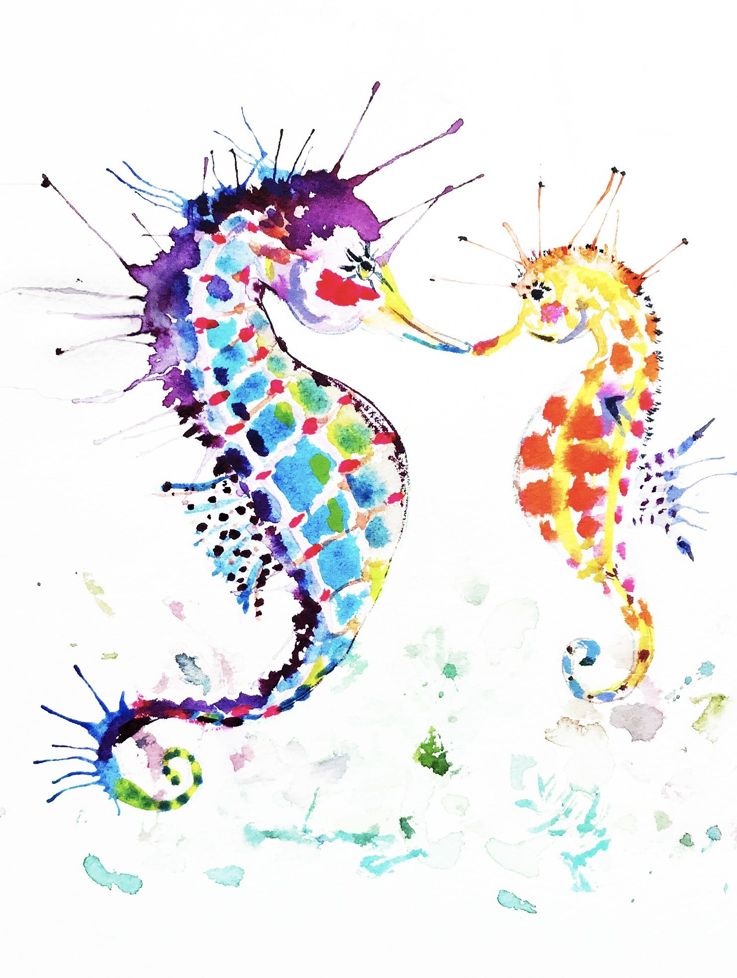 These loving seahorses bring colorful art into your home so easily ! I've had the great fortune to see these beautiful creatures while diving. The seahorse is considered a sign of good luck. Enjoy these guys looking over your desk, in your kitchen or watching over the baby. They will make the perfect good luck charm for yourself or as a gift!