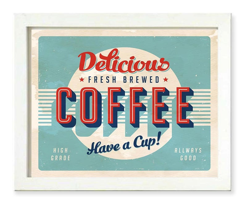 Instant Download Vintage Retro Coffee Art Print Delicious Etsy In 2020 Vintage Coffee Signs Coffee Art Print Diner Sign