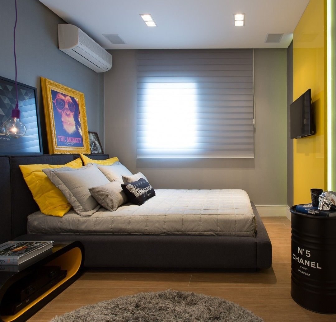 Boys Room Bedroom Yellow Grey Amarillo Gris Dormitorio  ~ Cores Para Quarto De Adolescentes