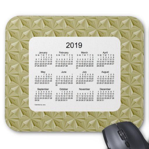 2019 Gold Diamonds Calendar by Janz Mouse Pad Mice