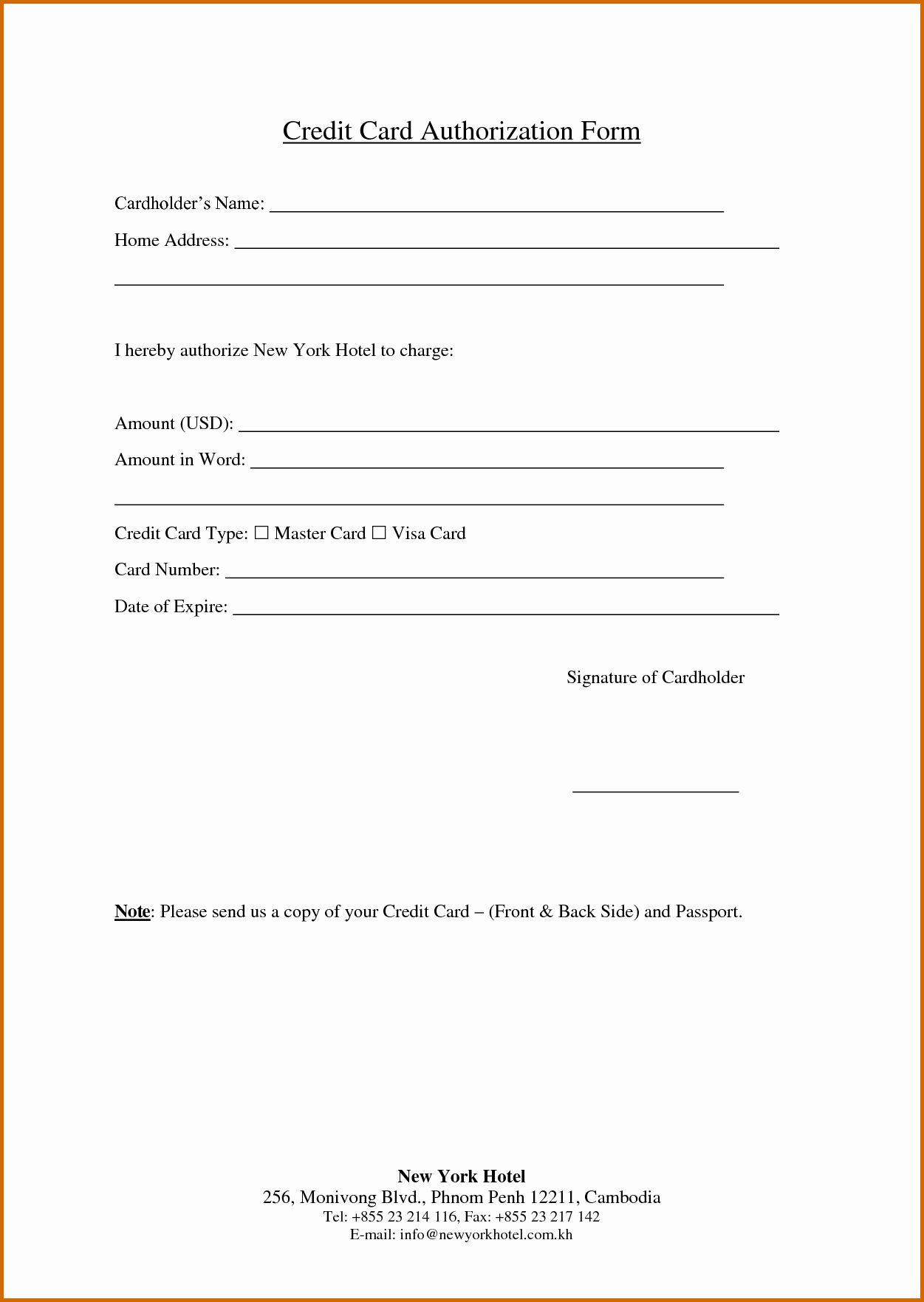 Free Printable Credit Card Authorization Form In 2020 Credit