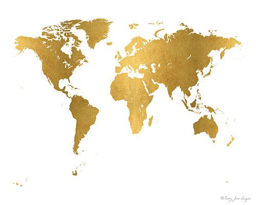 Gold World Map Digital Printable Art Instant by PennyJaneDesign