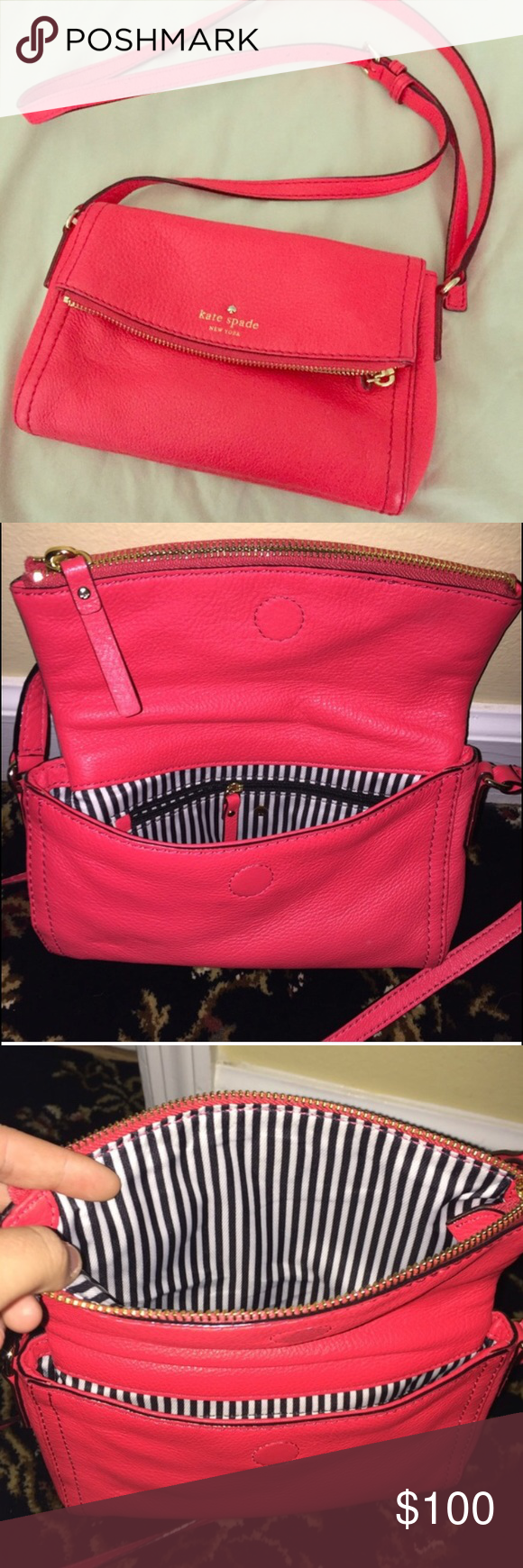 Reddish/orange/pinkish color Kate spade purse Like new Kate spade purse. Only worn two times. Comes with dust box and bag... willing to trade for another Kate spade purse Bags Crossbody Bags
