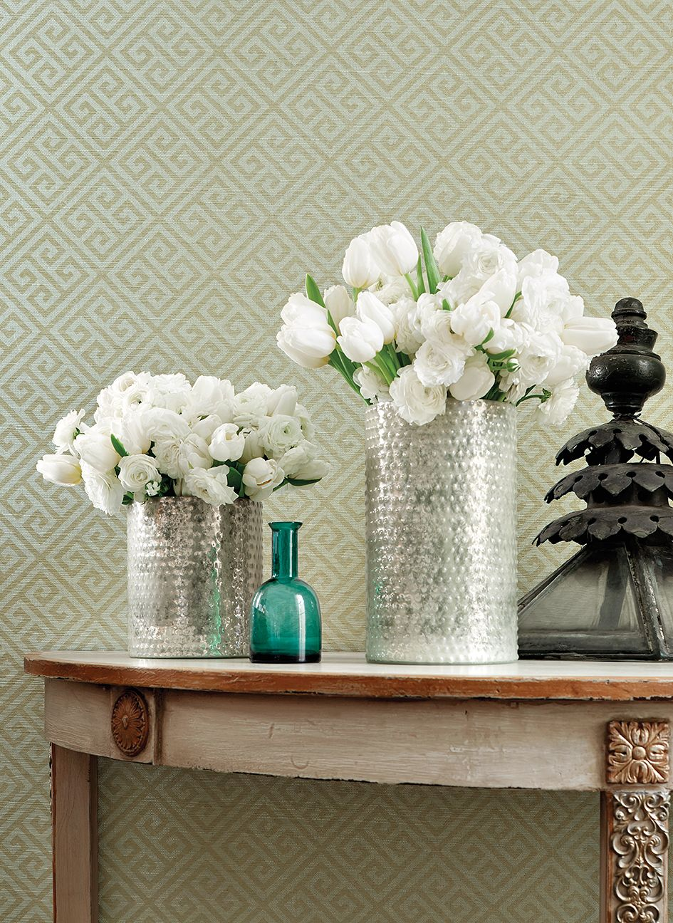 Maze wallpaper in aqua and metallic gold from the