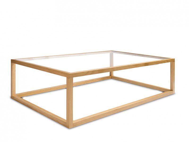 beau table basse verre et bois rectangulaire   décoration