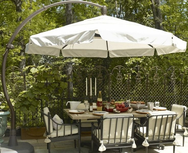 11 Cantilever Round Side Mount Umbrella Deck With Pergola Backyard Furniture Pergola