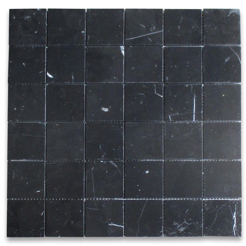 Nero Marquina Black Marble 2x2 Square Mosaic Tile Honed Marble Square Mosaic Tiles Black Mosaic Tile