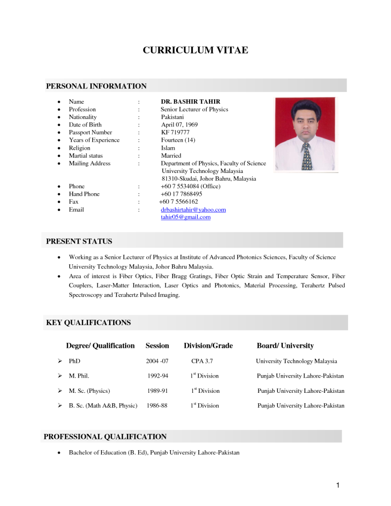 Free Resume Templates Malaysia Personal resume, Resume
