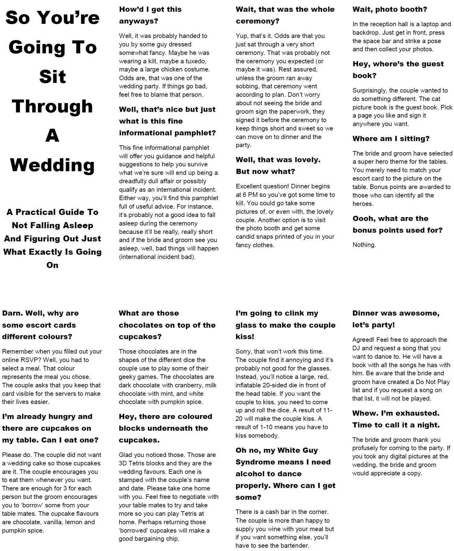 Wedding Program Wording Sample So You Re Going To Sit Through A Wedding A Practical Funny Advice Wedding Invitations With Pictures Fall Wedding Diy