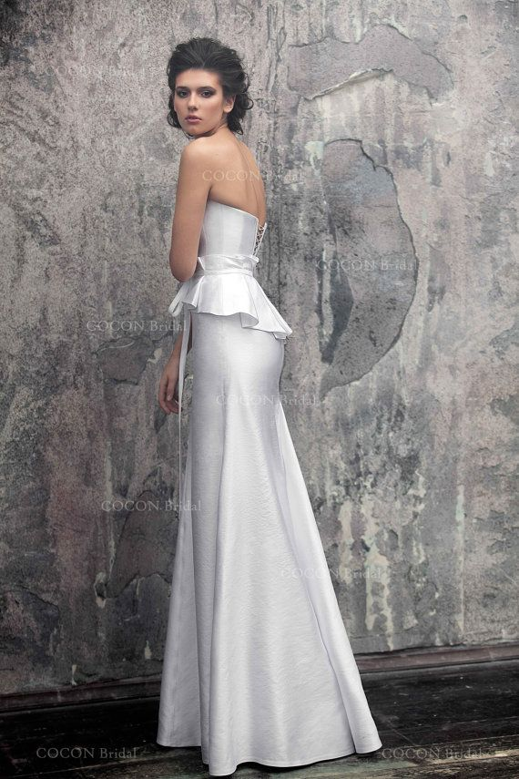 Mermaid wedding dress Glamour Wedding gown from atlas with handmade ...