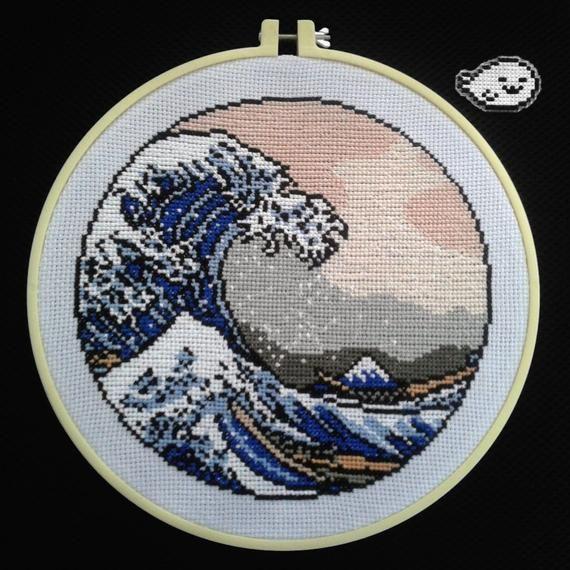 Photo of Great Wave – Cross Stitch Pattern – Japan – The Great Wave off Kanagawa – Digital –  The Wave – DIY – Nature – Sea – Japanese – Hokusai