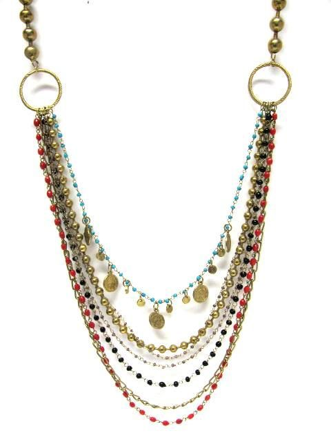 Multi-strand necklace with chain and beads