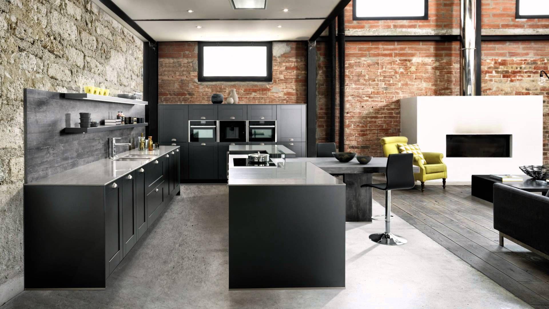 Du noir mat un plan de travail min ral le style industriel vintage assum dans cette cuisine - Cuisine industrielle design ...